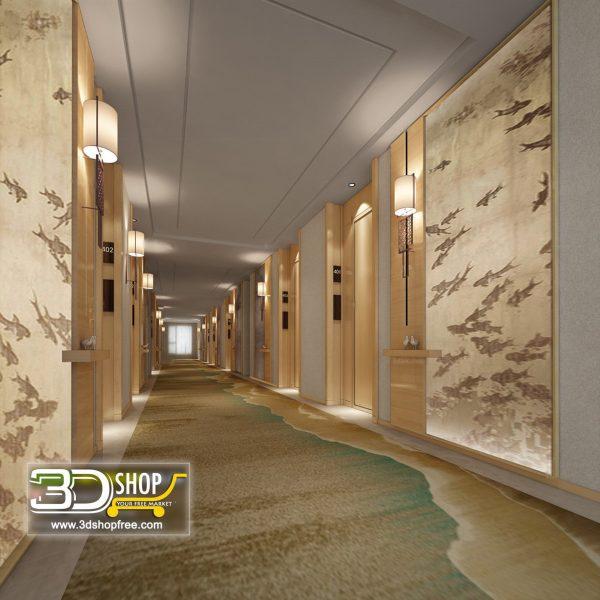 049 Hotel Corridor 3d Max Interior Scene
