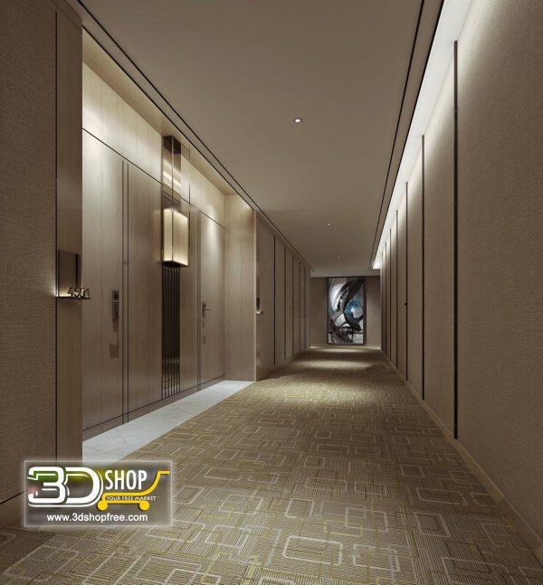 050 Hotel Corridor 3d Max Interior Scene