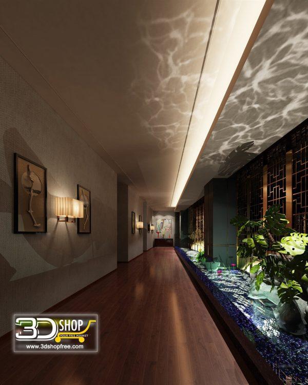 051 Hotel Corridor 3d Max Interior Scene