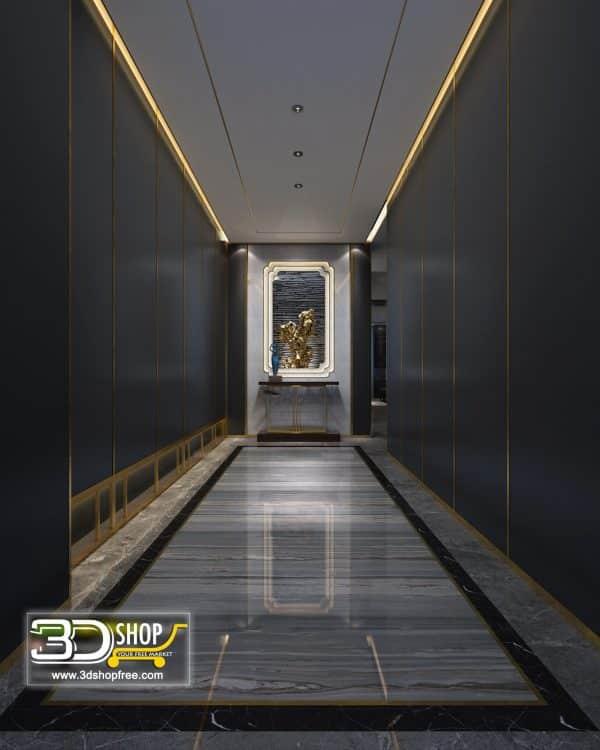 052 Hotel Corridor 3d Max Interior Scene