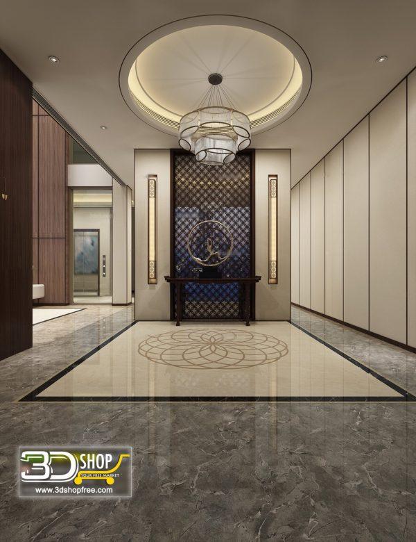 053 Elevator Lobby 3d Max Interior Scene