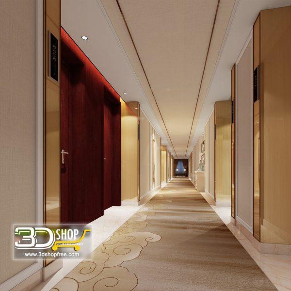 054 Hotel Corridor 3d Max Interior Scene