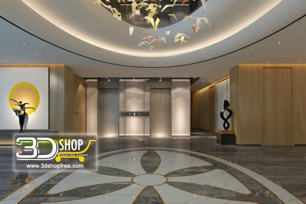 077 Elevator Lobby 3d Max Interior Scene