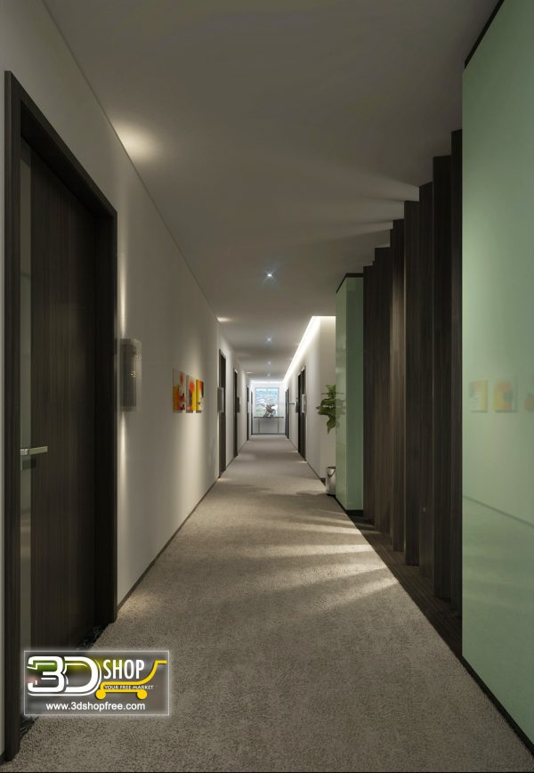 078 Hotel Corridor 3d Max Interior Scene