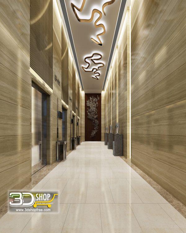 079 Hotel Corridor 3d Max Interior Scene