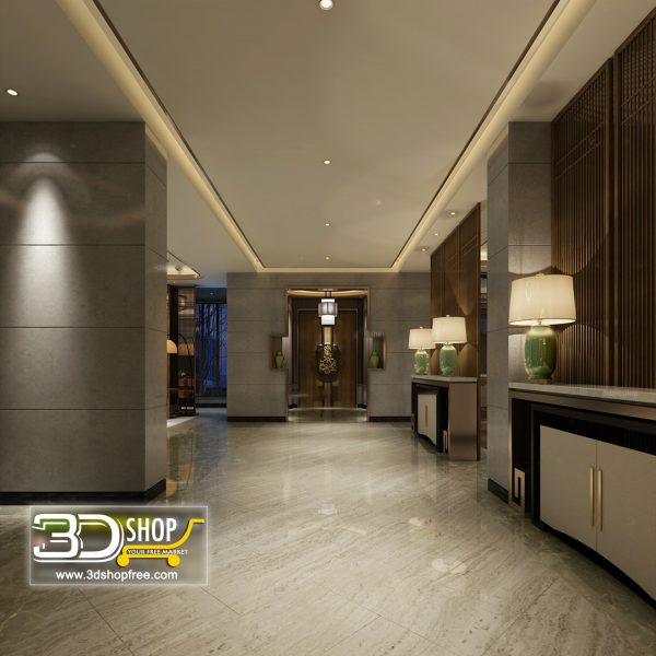 Elevator Lobby 3d Max Interior Scene 086