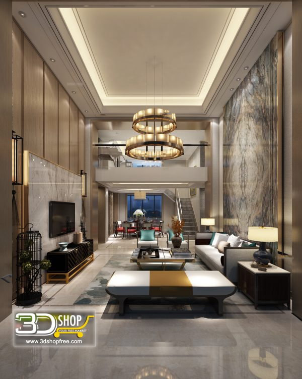 Living Room 3d Max Interior Scene 383