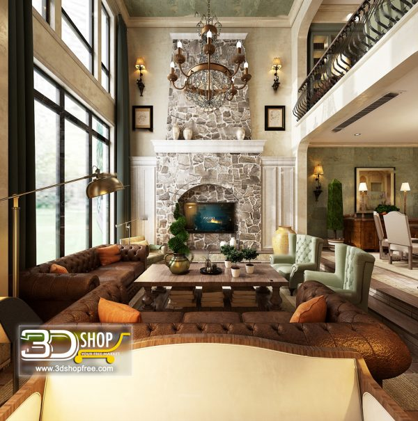 Living Room 3d Max Interior Scene 423
