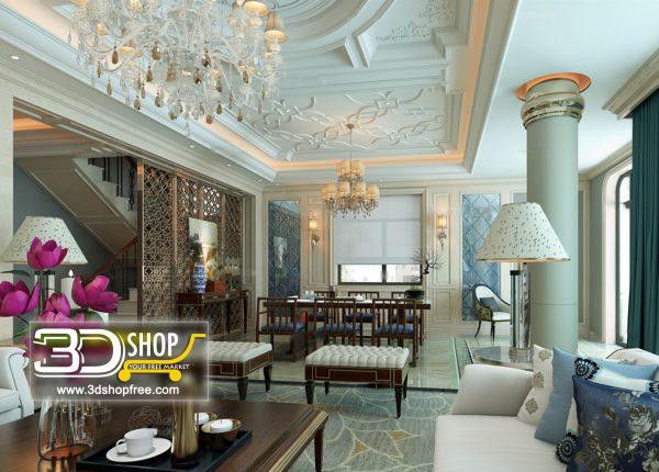 Living Room 3d Max Interior Scene 430
