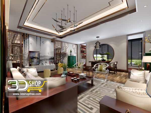 Living Room 3d Max Interior Scene 437