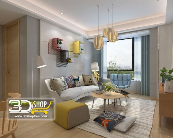 Living Room 3d Max Interior Scene 453
