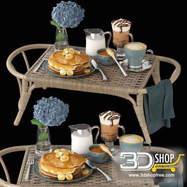 Bed Breakfast Table 3D Model 018