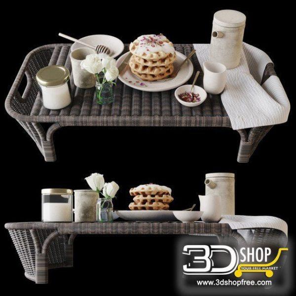 Bed Breakfast Table 3D Model 019