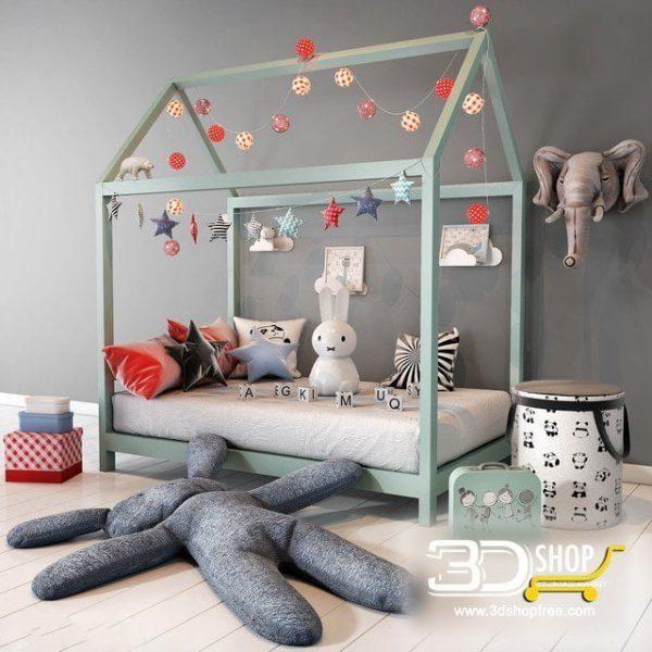 Kids Bed 3D Model 012