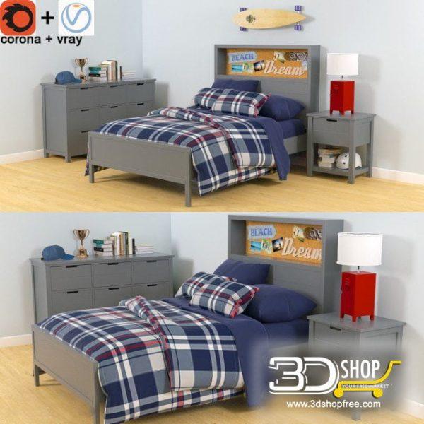 Kids Bed 3D Model 014