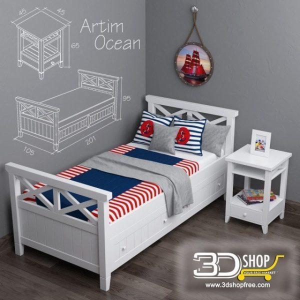 Kids Bed 3D Model 015