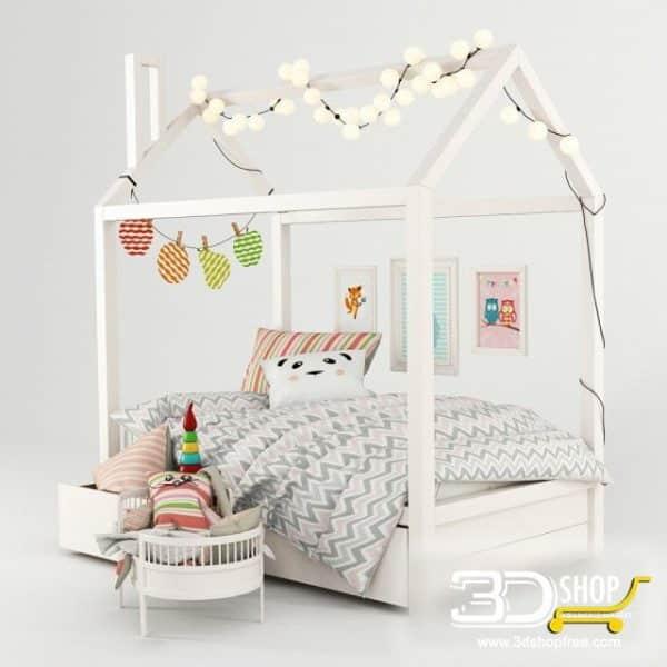 Kids Bed 3D Model 016