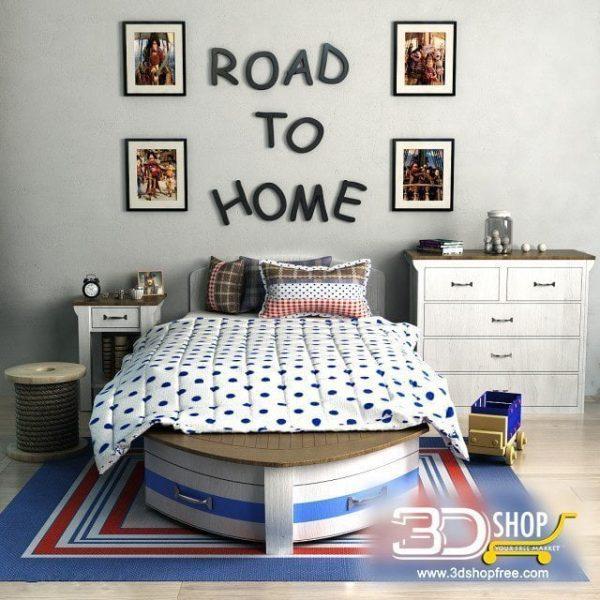 Kids Bed 3D Model 018