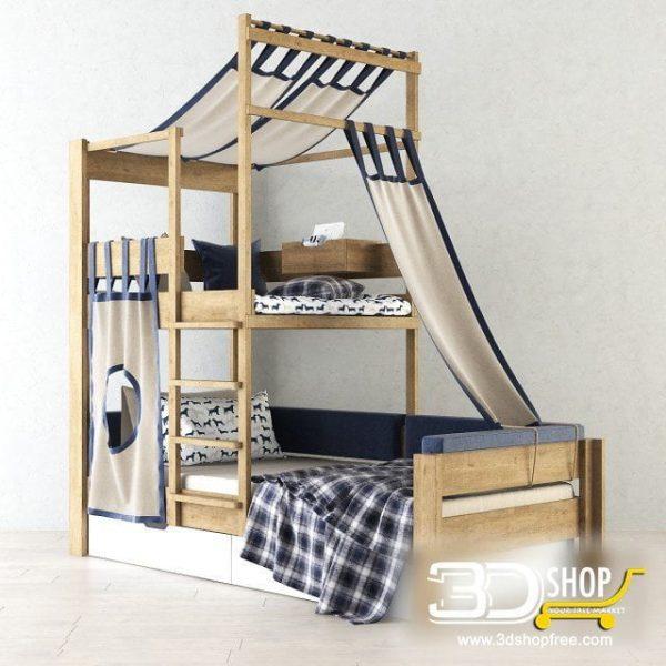 Kids Bed 3D Model 019