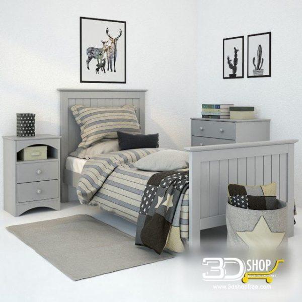 Kids Bed 3D Model 020