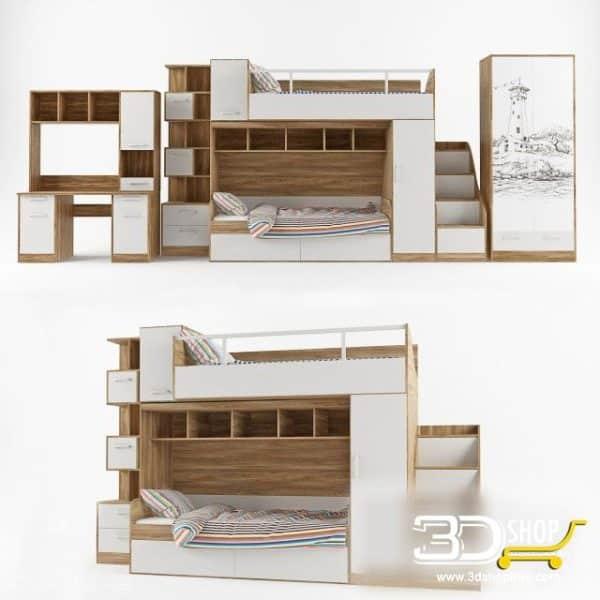 Kids Bed 3D Model 021