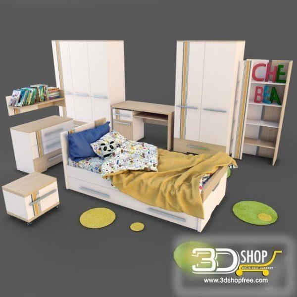 Kids Bed 3D Model 022