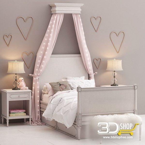 Kids Bed 3D Model 025