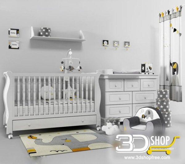Kids Bed 3D Model 036