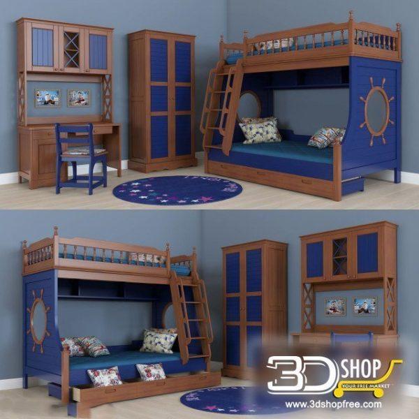 Kids Bed 3D Model 037