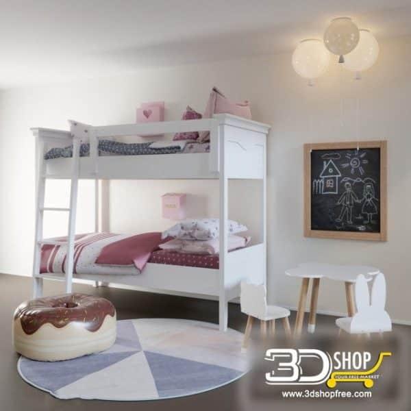 Kids Bed 3D Model 038