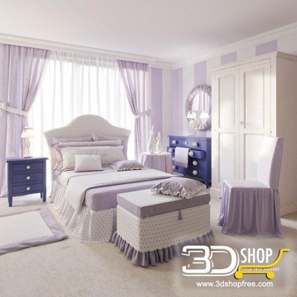 Kids Bed 3D Model 040