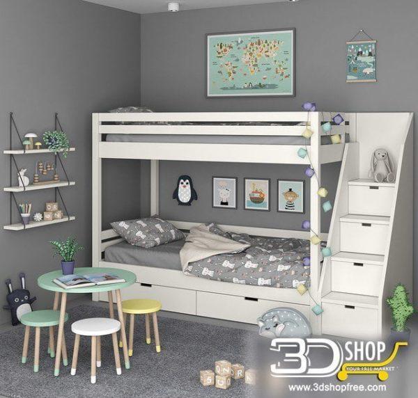 Kids Bed 3D Model 041