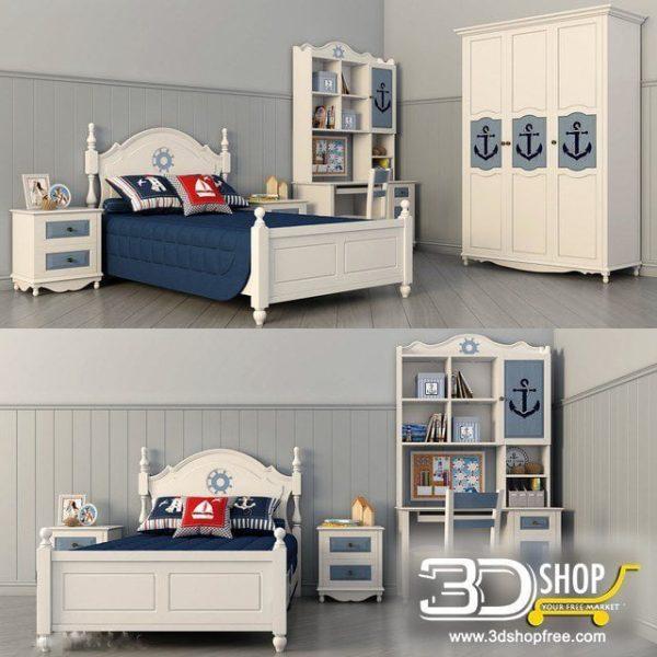 Kids Bed 3D Model 043
