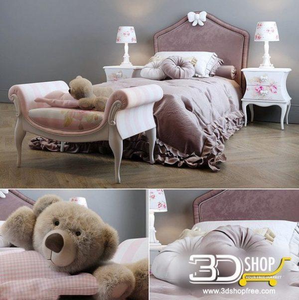 Kids Bed 3D Model 048