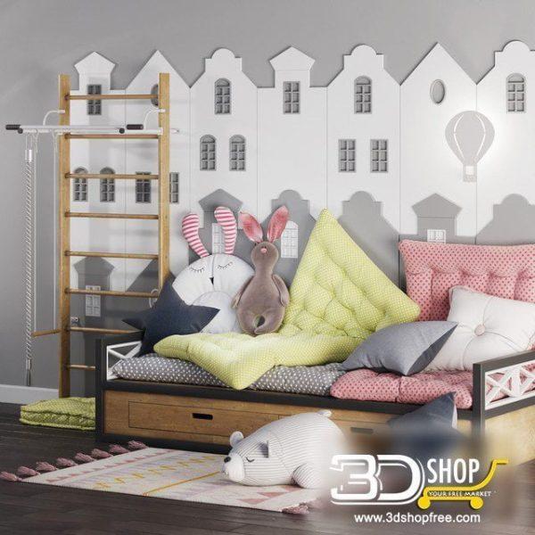 Kids Bed 3D Model 050