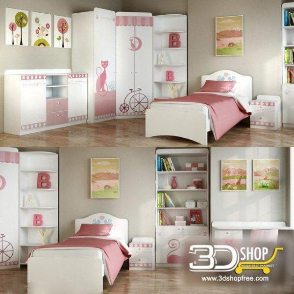 Kids Bed 3D Model 051