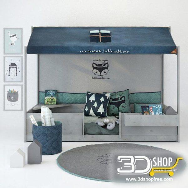 Kids Bed 3D Model 052