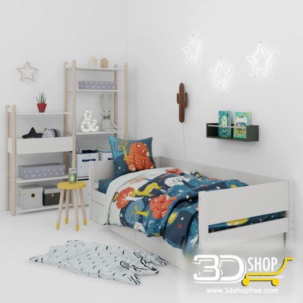 Kids Bed 3D Model 053