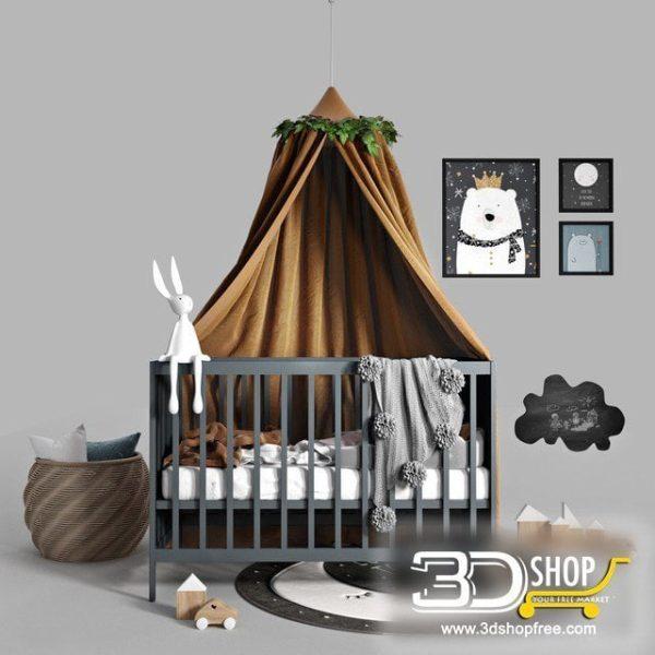 Kids Bed 3D Model 054