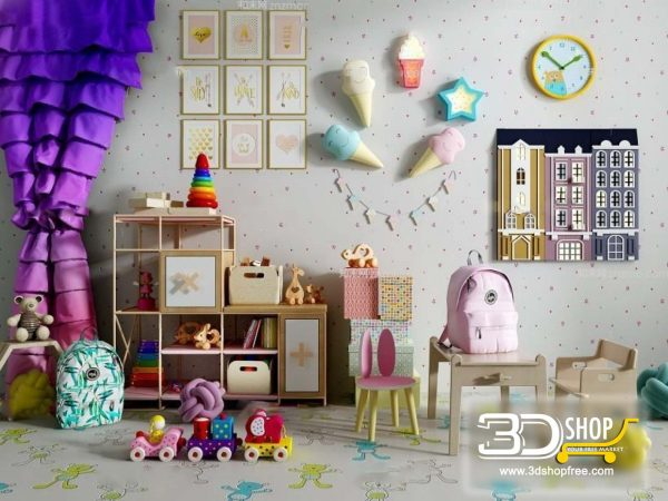 Child room Decorative Set 3d Models 080
