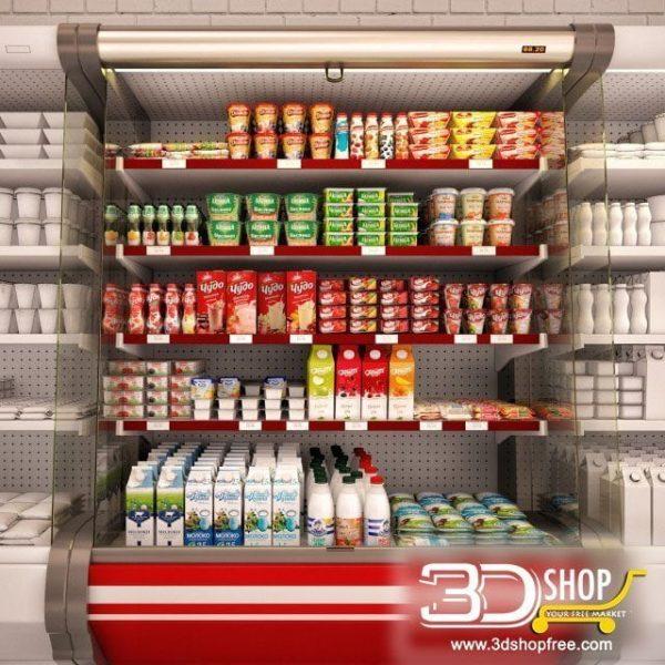 Dairy Fridge Shop 3d Models 015