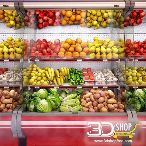 Fruits & Vegetables Fridge Shop 3d Models 017