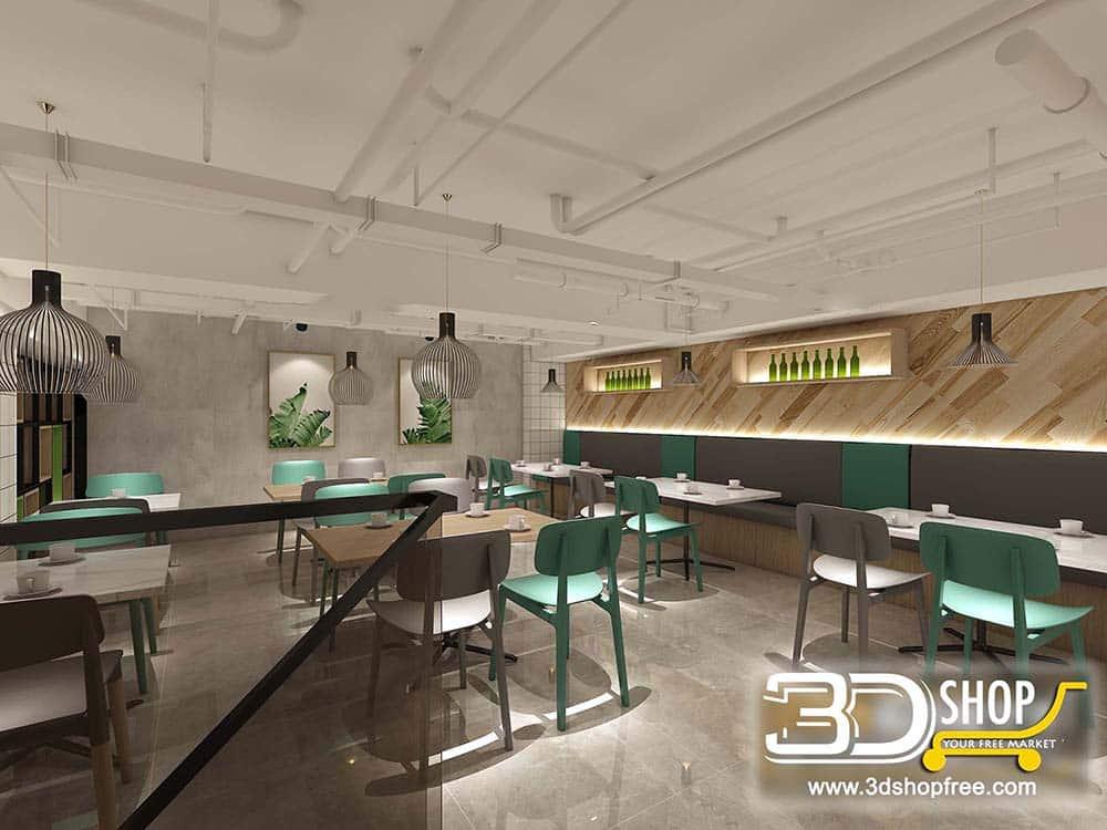 Restaurant 3D Max Interior Scene