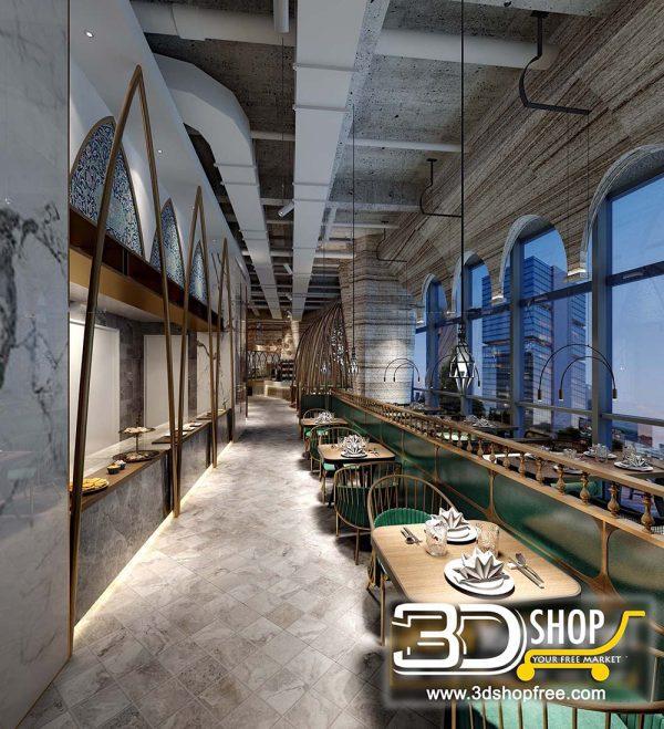 050 Restaurant 3D Max Interior Scene