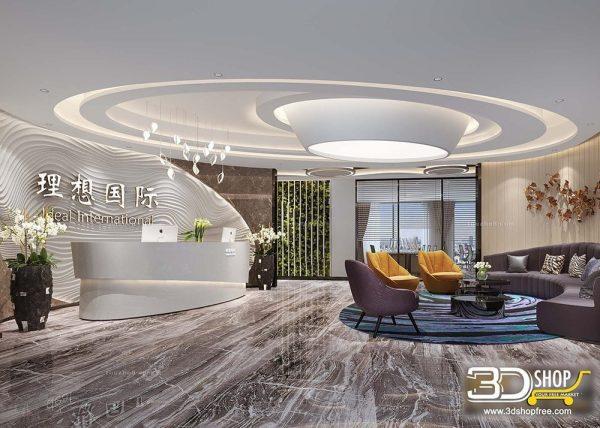 055-1 Hotel Reception 3d Max Interior Scene