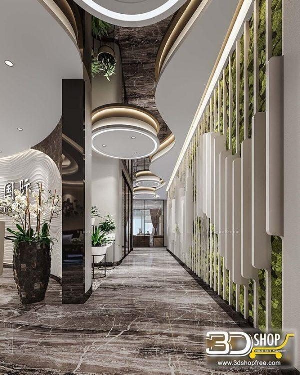 055 Hotel Reception 3d Max Interior Scene