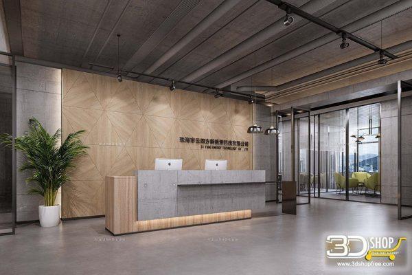056 Hotel Reception 3d Max Interior Scene