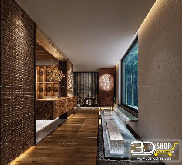 057 Hotel Reception 3d Max Interior Scene
