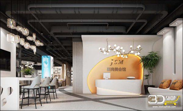 058 Hotel Reception 3d Max Interior Scene