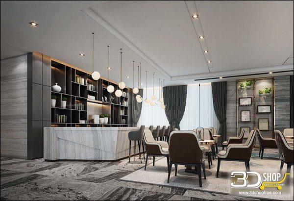 060 Hotel Reception 3d Max Interior Scene